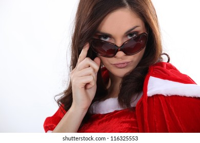 sexy mother Christmas with sunglasses