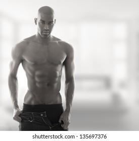 Sexy muscular male model in underwear