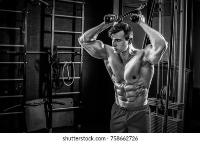 Sexy muscular man posing in gym, shaped abdominal. Strong male n