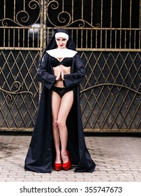 Sexy nun against the background of the gates