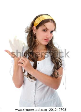 Sexy nurse wearing gloves