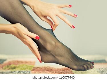 sexy nylon on a female leg