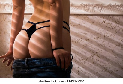 Sexy panties, lingerie, underwear woman, bra. Sensual woman body. Slim girl with lovely round ass. Sexy ass, thong closeup. Sexy ass in panties. Woman shows beautiful ass, butt. Female in underwear.