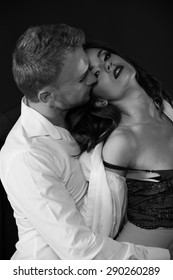 sexy photo of boy and girl. black and white