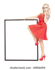 Sexy pinup girl with a blank presentation board
