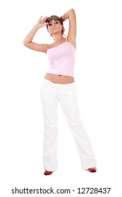 Sexy plus-size girl in pink top, pants and sunglasses over white background