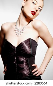 Sexy professional model in evening dress
