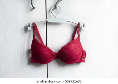 Sexy red bra on hanger, white background