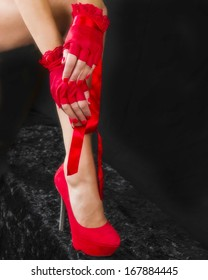 Sexy Red Heels and Gloves