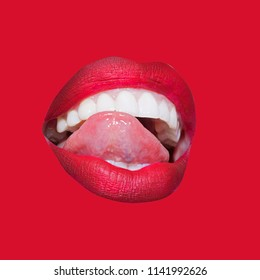 Sexy red lips icon with seductive tounge isolated on red background. Seductive lady's mouth, white teeth and red lips. White healty teeth of woman. Seduction from young lady. Perfect female mouth