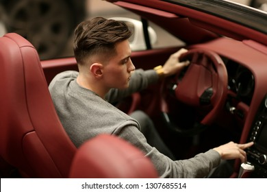 Sexy rich guy. Bentley supercar, car. Attractive man. Comfort with male. Lux, luxury, Vehicle driver. Auto, automobile. Success, successful. Happy dream. Young, nice, handsome, drive