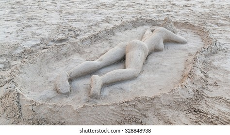Sexy sand relaxation woman beach