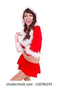 Sexy Santa helper having lollipop in her mouth