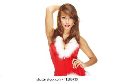 Sexy santa helper on white background