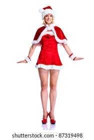 Sexy santa helper woman. Christmas party. Isolated over white background.