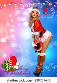 Sexy Santa's Helper Holiday postcard wallpaper template