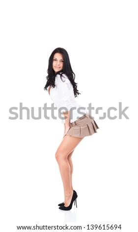 Sexy brunette short skirt