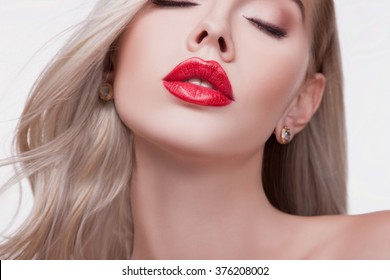 Sexy Sensual Red Lip, Mouth Open, White Teeth. Beautiful Blonde Portrait, close-up Big Lips, Bright Lipstick. Magnificent Red Lipstick on the Lips. Beautiful Woman, Gorgeous  Lips. Perfect Lips