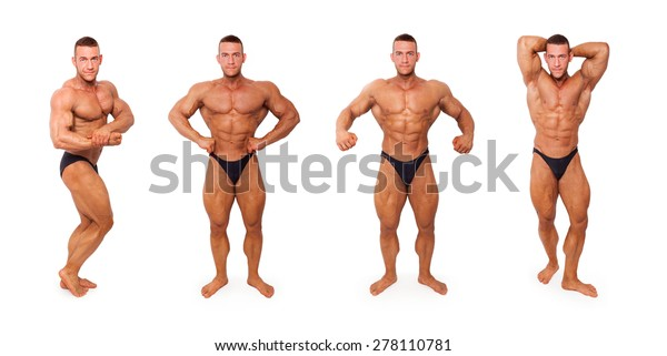 Sexy shirtless muscular bodybuilder in different bodybuilding poses isolated on white background. Sports, body building, strengths and fitness.