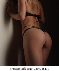 sexy skinny girl in black lingerie