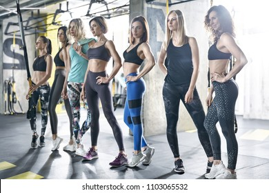 Sexy sportive girls are posing in the gym on the windows background. They are wearing multicolored sportswear: tops, sleeveless, pants and sneakers. Woman are looking forward. Horizontal.