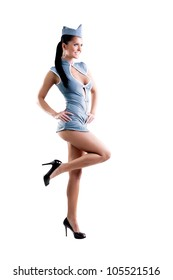 sexy stewardess in blue uniform isolated in white background.