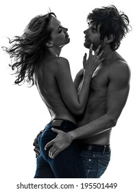 sexy stylish topless couple lovers  in silhouette on white background
