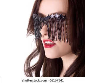 sexy stylish woman in creative glasses isolated