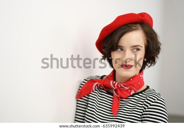 Sexy Stylish Young Woman Wearing French Stock Photo Edit
