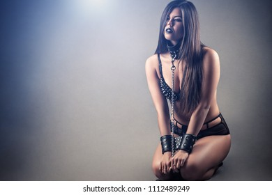 sexy submissive slave woman kneeling
