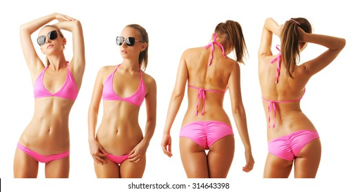 Sexy tan woman in bikini collection isolated on white background