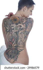 Sexy tattooed back on a white background