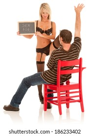 "Sexy teacher in lingerie holds a chalk board with the title of the class -- ""Sex 101"""