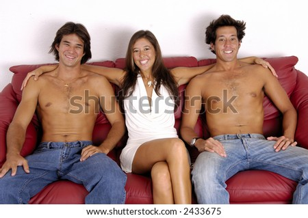 Sexy Threesome On Couch