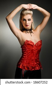 Sexy vamp woman with creative hairstyle