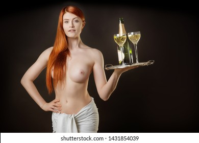 sexy waitress with a tray and drinks
