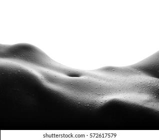 Sexy wet female body isolated on white background