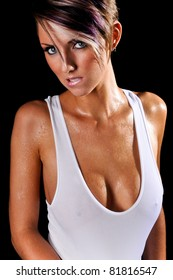 Sexy Wet Woman Biting Her Lip Wearing a white Tank Top