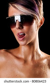Sexy Wet Woman Wearing Sunglasses