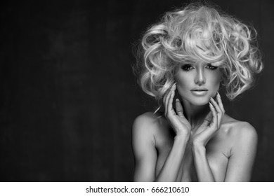 Sexy woman with amazing blond hair. Black and white