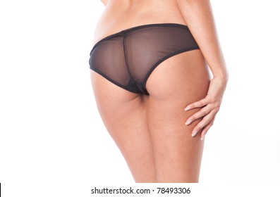 Sexy woman ass in lingerie on the white background