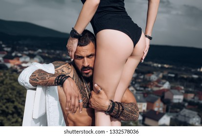 Sexy woman ass. Passion love couple. Love, sex and flirt. Eritic moment for lovers. Sexy couple makes love