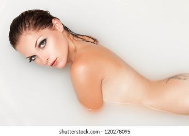 Hot blonde babe taking a bath #13