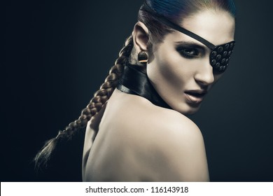 sexy woman with black eye-patch