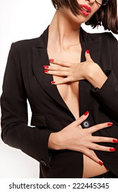 Sexy woman with black suit.