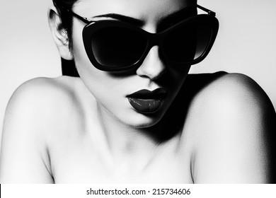 sexy woman in black sunglasses