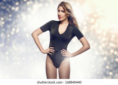 Sexy woman in bodysuit