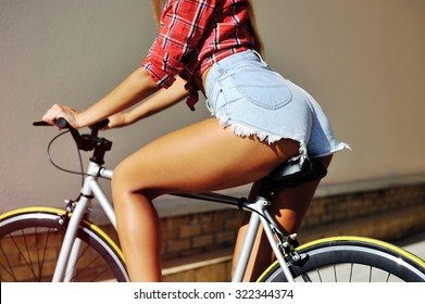 Erotic sexy woman bicycle