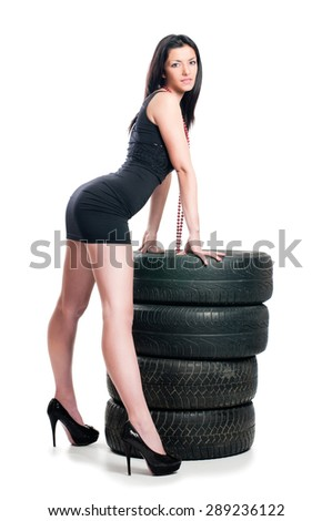 Sexy girl with tire