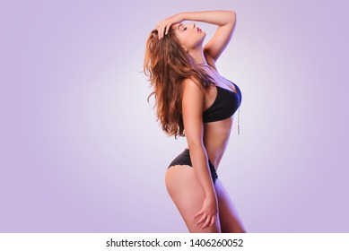 sexy woman in colorful colors dancing